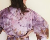 Ready to Ship Hand Dyed Kimono Robe in Super Bloom , Purple and Ocher Tie Dyed Rayon Bathrobe, Anna Joyce, Portland, OR.
