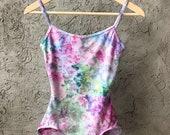 Tie Dye Bodysuit in Water Lily, Hand Dyed Leotard, Anna Joyce, Portland,