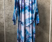Hand Dyed Kimono Robe in Cut Sapphire Tie Dyed Rayon Bathrobe, Cover Up, Duster,  Anna Joyce, Portland, OR.
