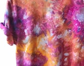 Hand Dyed Cotton Crew Neck T-Shirt in Tiger's Eye, Anna Joyce, Portland, OR. Tie Dye