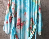 Hand Dyed Kimono Robe in Daiquiri, Aqua and Coral Pink Tie Dyed Rayon Bathrobe, Anna Joyce, Portland, OR.
