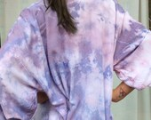Hand Dyed Kimono Robe in Orchid, Lavender and Blue Tie Dyed Rayon Bathrobe, Anna Joyce, Portland, OR.