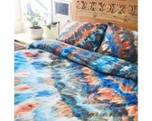 NEW Sand & Sky Hand Dyed Duvet Cover and Pillowcase, Tie Dye Sheets, Anna Joyce, Portland, OR
