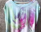 Hand Dyed Tank Dress in Water Lilies, Aqua, mint, lavender, tie dye,  Anna Joyce, Portland, OR