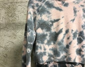 Hand Dyed Cropped Teddy Crew Neck Sweatshirt in Rose Mist, Anna Joyce, Portland, OR. Tie Dye