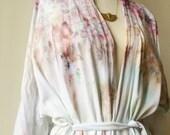 Hand Dyed Kimono Robe in Mother of Pearl, Tie Dye, Shibori, Rayon Bathrobe, Anna Joyce, Portland, OR.