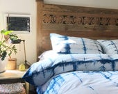 RESERVED Hand Dyed Indigo Bedding in Beach Glass, Shibori Bedding, Duvet Cover and Two Pillow Cases, Anna Joyce, Portland, ORR