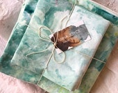 Reef Hand Dyed Bedding, mint, aqua, Shibori Duvet Cover and Two Pillow Cases, Anna Joyce, Portland, OR
