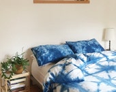 Hand Dyed Indigo Bedding, Shibori Bedding, Duvet Cover and Two Pillow Cases, Twin, Queen and King, Anna Joyce, Portland, OR