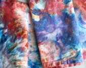 NEW Hand Dyed Napkins in Sand and Sky, tie dye cotton napkins, terra-cotta and lapis blue, Anna Joyce, Portland, OR