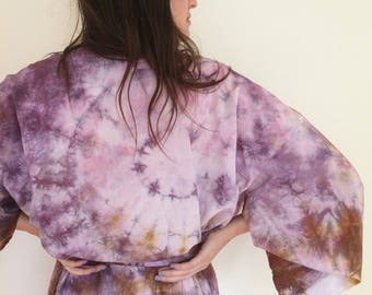 Hand Dyed Robe in Super Bloom, Purple and Ocher Tie Dyed Rayon Bathrobe, Anna Joyce, Portland, OR.