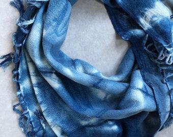Hand Woven Cotton Scarves in Indigo Stars , Hand Dyed with Indigo, Made in Marrakech, Fair Trade