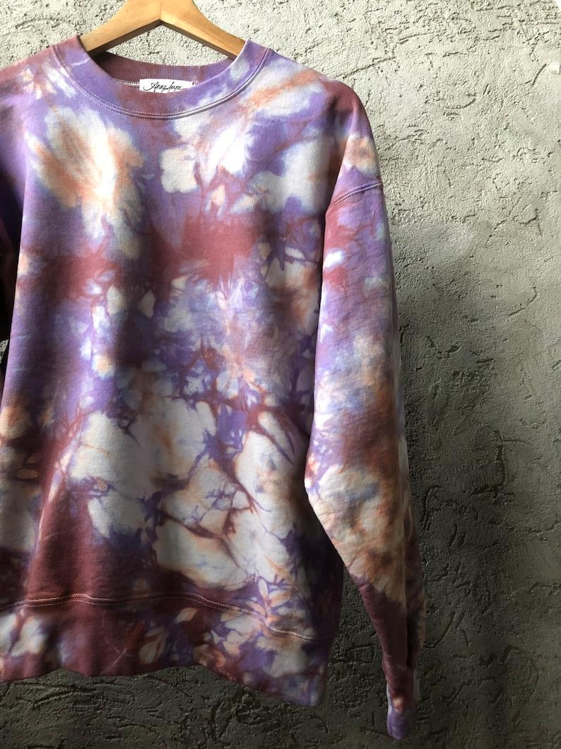 Anna Joyce Portland Hand Dyed Cotton Crew Neck Sweatshirt in Spring Tulips OR Tie Dye