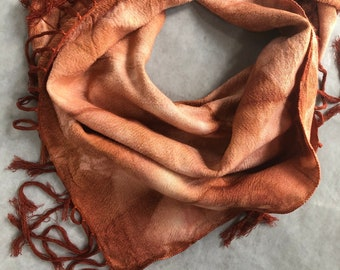Hand Woven Cotton Scarves in Henna , Hand Dyed, Made in Marrakech, Fair Trade
