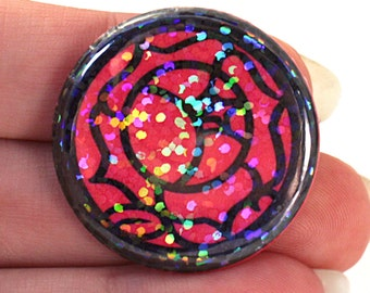 Holographic Rose Seal - 1.25 pinback button