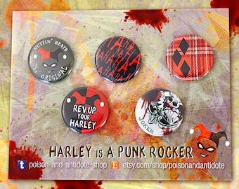 Harley is A PUNK ROCKER - 5-pin button pack