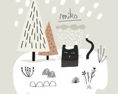 Miko Snow / Art Print / Giclee print / Poster / Illustration / Black Cat