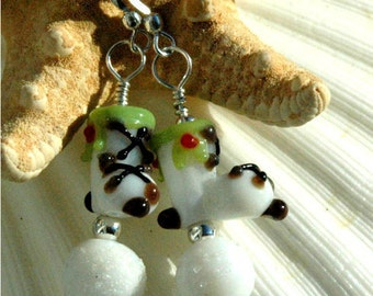 Lampwork Glass Ice Skate Earrings