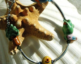 Tropical Ceramic and Silver Bracelet