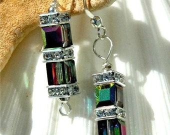 Swarovski Double Cube Earrings in Vitrail