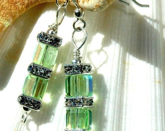 Chrysolite Swarovski Double Cube Earrings