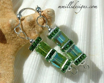 Peridot Swarovski Double Cube Earrings