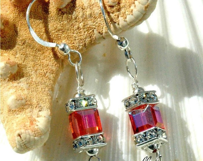 Featured listing image: Swarovski Single Cube Earrings in Padparadscha