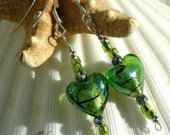 Green Lampwork Heart & Silver Earrings