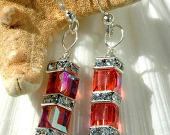 Swarovski Double Cube Earrings in Padparadscha