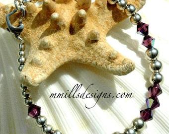 Amethyst Swarovski Crystal and Silver Bracelet