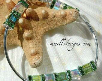 Peridot Swarovski Cube Bracelet