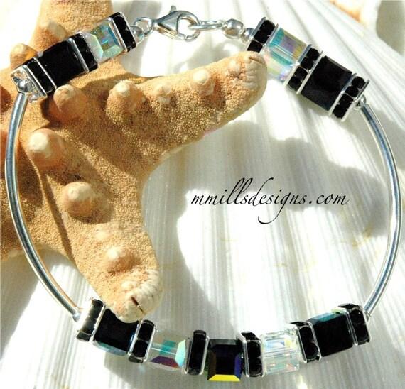 Swarovski Cube Bracelet in Jet Black