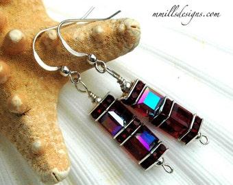 Swarovski Double Cube Earrings in Siam Red