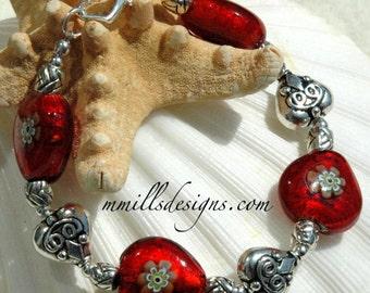 Red Millefiori Heart Bracelet