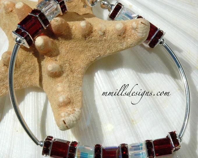 Swarovski Cube Bracelet in Siam Red