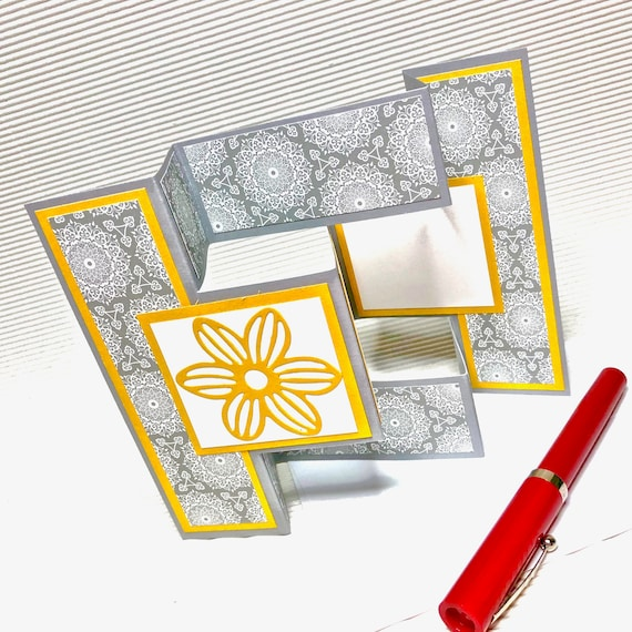 Birthday Card For Her Fancy Handmade Greeting Fold Trifold Shutter Stamped Grey Yellow