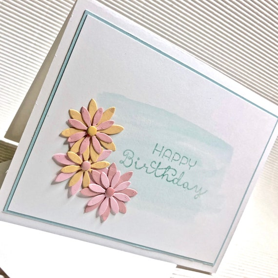 Birthday Card For Her 4 Colors Yellow Green Blue Gray Fancy