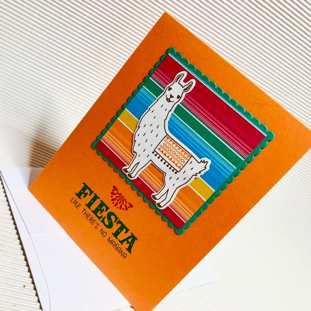 Birthday Card For Him Her Fancy Handmade Greeting Stamped Llama Blanket Fiesta Like Theres