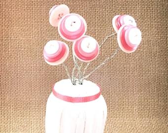 Button Flowers in Salt & Pepper Shaker Vase- button art decor, birthday gift, small gift, button art, flower art, flower gift, gift for mom