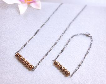 Copper Necklace & Bracelet -bead bracelet, bead necklace, beaded bracelet, beaded bracelets, beaded necklace, girlfriend gift, jewelry