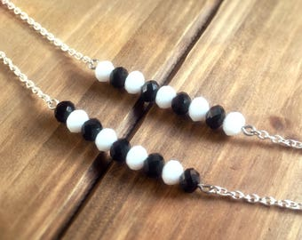 Bead Bar Necklace - racetrack necklace, everyday necklace, simple necklace, layer necklace, bridesmaid gift, girlfriend gift, birthday gift