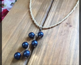 Silver & Blue Drop Necklace -bead necklace, beaded necklace, drop necklace, water drop necklace, beaded drop necklace, drop bead necklace
