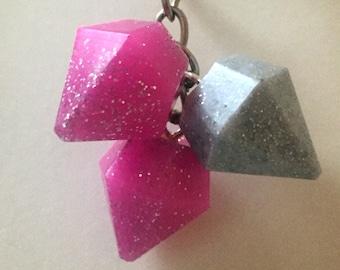 Pink and Silver Diamond Glitter Keychain - resin, resin charms, keychain, keyring, charms, pink, silver, glitter, girlfriend gift, keychains
