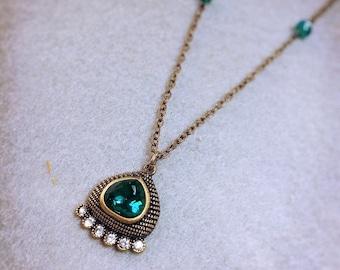 Blue & Bronze Necklace - blue jewelry, pendant necklace, layering necklace, simple necklace, something blue, statement necklace, sparkle