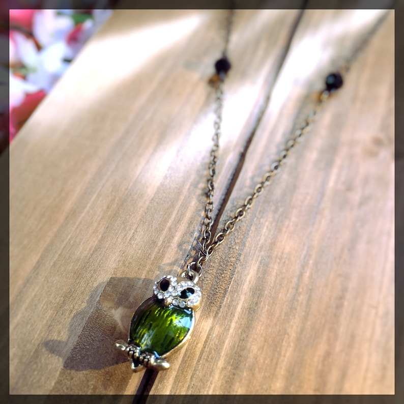 Green & Gold Owl Necklace owl jewelry bird necklace owl image 0
