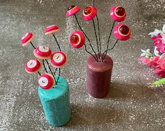 Button Flowers   buttons   salt & pepper shaker   unique gift   button gift   pink buttons   small gift