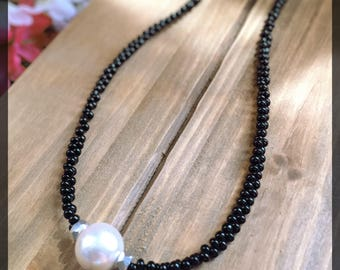 Black Pearl Beaded Necklace - pearl bead necklace, simple necklace, elegant necklace, statement necklace, gift for her, beaded necklace