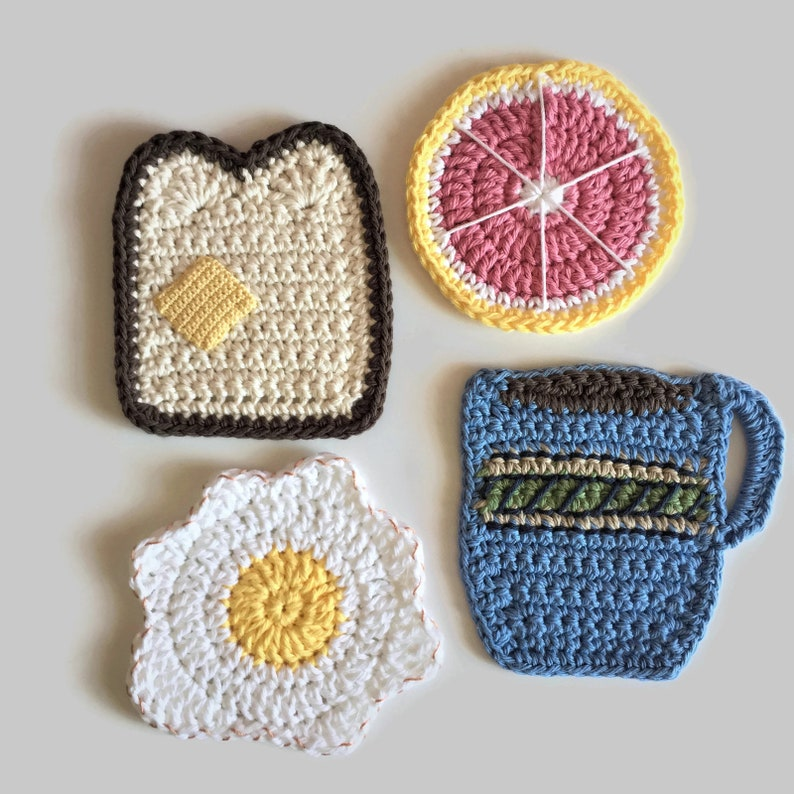 Crochet Coasters Set Of 4 Breakfast Foods Mug Rugs Novelty Etsy