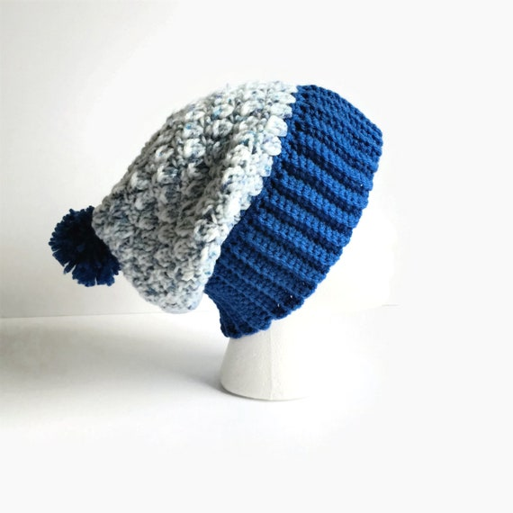 40c911ae308 Adult Warm Winter Beanie Ski Hat with Blue Ribbing and Pom