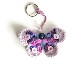 Spring Butterfly Bag Charm, Purple Butterfly Key Ring, Crochet Butterfly Keychain, Soft Colorful Butterfly Zipper Pull, Butterfly Key Fob